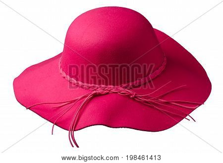 Women's Hat Felt Isolated On White Background .fashion Hat Fel . Red Hat