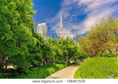 Toronto, Ontario, Canada, June 16, 2017 beautiful amazing, inviting view of Toronto down town area music garden park near waterfront with modern stylish building and CN tower in background