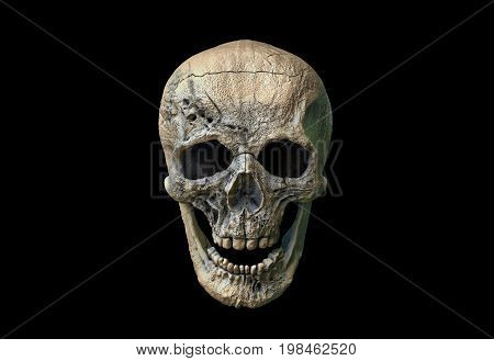Human skull on Rich Colors a dark background. The concept of death, horror. A symbol of spooky Halloween. 3d rendering illustration.
