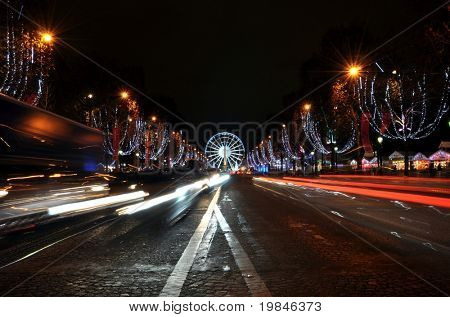 The Champs Elyses at night