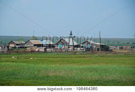 Buryat village. Barguzin valley Buryatia Russi summer travel