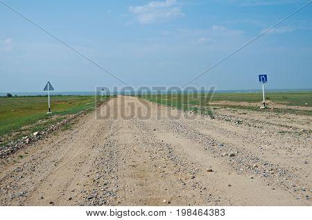 Old rural road Barguzin valley Buryatia, Russia summer travel