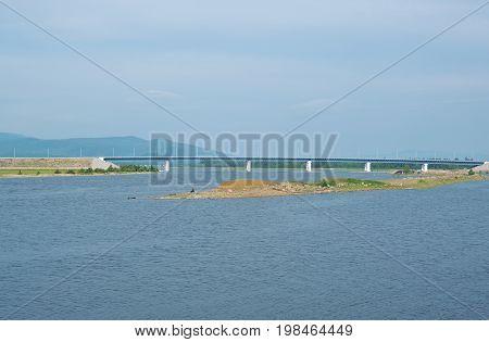 Bridge over the river Barguzin. Buryatia Russia  tourism,