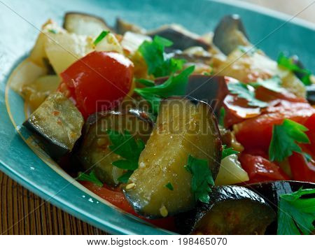 Caponata Agrodolce - traditional italian dish close up meal