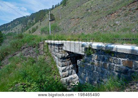 Circum-Baikal railroad . Railway bridge siberia transportation