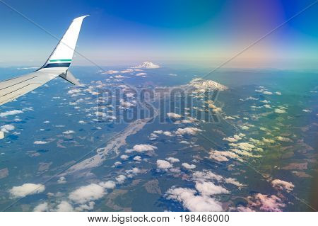 Flying By Mount Rainier In Washington State