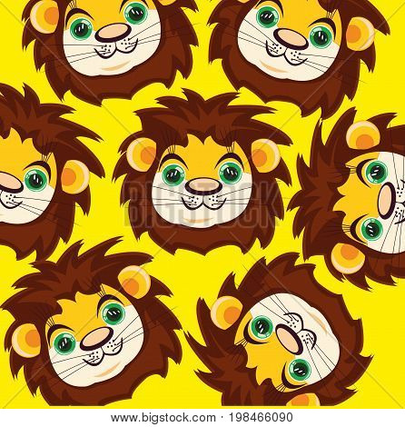 Cartoon lion on yellow background is insulated