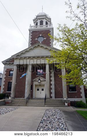 CADILLAC, MICHIGAN / UNITED STATES -  MAY 31, 2017: The First Congregational United Church of Christ offers worship services near downtown Cadillac.