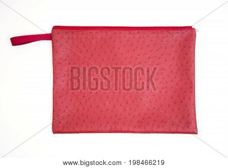 red ostrich handbag isolated on white background