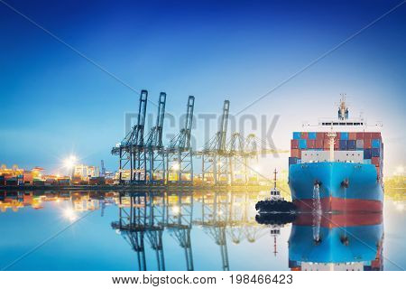 International Container Cargo ship with working crane bridge in shipyard background logistic import export background and transport industry.