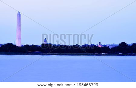 Washington, D.C. skyline at dusk shot across the Potomac River.