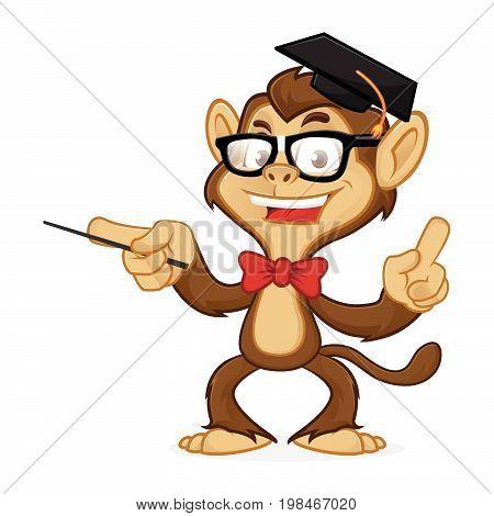 Chimp Cartoon Mascot Wearing Glasses And Toga Hat