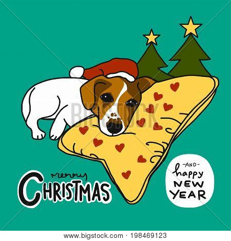 Jack Russell dog sleep on heart pillow Merry Christmas and Happy New Year cartoon illustration