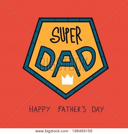 Super Dad word happy Father's day illustration