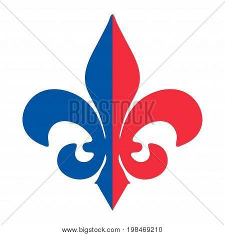 The Fleur de Lis or flower-de-luce vector icon. Royal French lily made in the colours of French revolution and flag of France: red and blue on a white background.