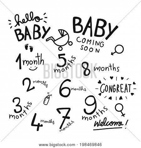 1-9 months baby word set illustration on white background