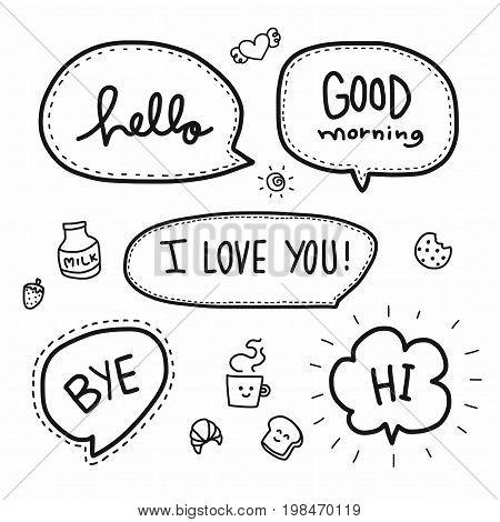 Hello word bubble set illustration on white background