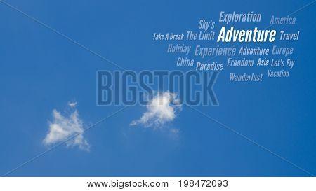 Adventure, Travel Word Cloud, Blue Sky & Clouds