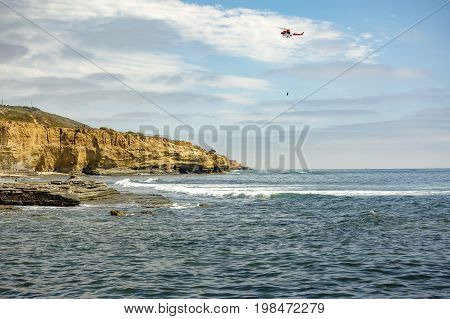 Us Coastguard Helicopter In Flight, Point Loma Beach