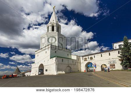 Kremlin wall and Spasskaya tower with the gate Church in Kazan Kremlin, Kazan, Republic of Tatarstan, Russia
