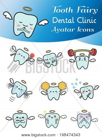 Cute cartoon illustration of tooth fairy avatar icon in various activities and mood set 1. Cute tooth icon set in Japanese manga style for dental clinic or decoration usage create by vector