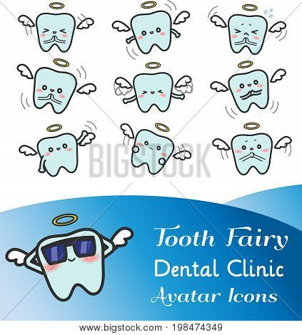 Cute cartoon illustration of tooth fairy avatar icon in various facial expression and mood set 2. Cute tooth icon set in Japanese manga style for dental clinic dentistry or decoration usage create by vector