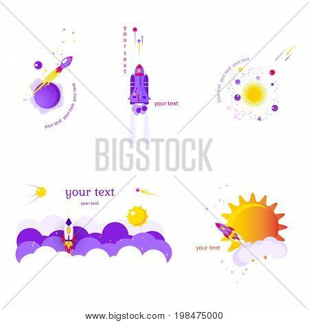 Set of five flat banners on space theme on white background. Vector illustration