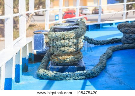 Bollard and rope on a ferry boat