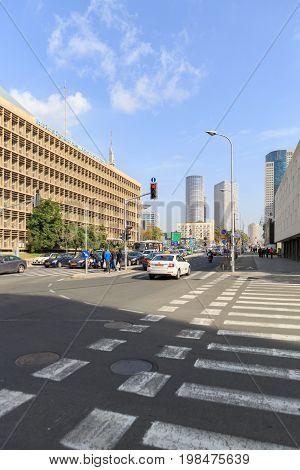Tel-aviv, Israel - January 22, 2016: Crossroad On  Eliezer Kaplan Street