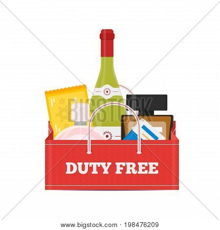 Vector flat icons set of Duty Free shop bag and catalog icons for perfume, alcohol, chokolate and cigarette packs at airport. Isolated illustration of store building for tax free airport shopping.