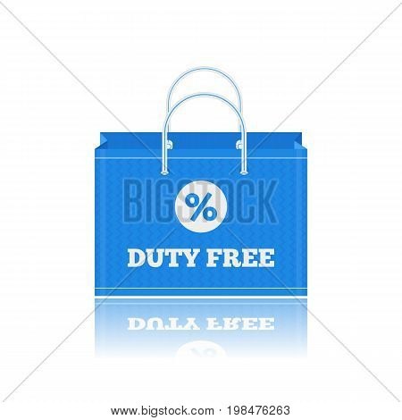 Vector flat icon of shopping bags in Duty Free shop at airport. Isolated on white background illustration of different paper bags for goods for tax free airport shopping.