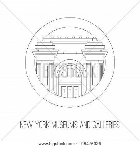 New York museum and gallery attractions.Vector thin lined outlined icon of New York city museums and galleries building. City design front view elements four tourist visit isolated on white background
