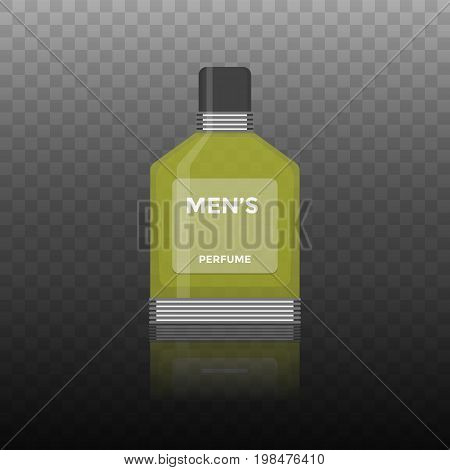 Vector flat icon of men perfume. Isolatedon transparent background illustration of realistic 3d perfume bottle for man for gift store ad or banner design.