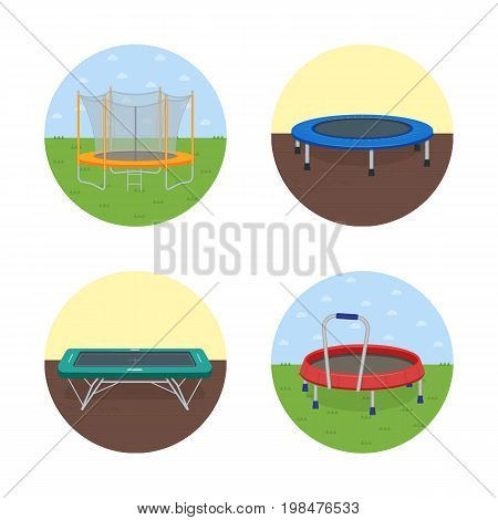 Jumping trampoline vector flat realistic icon. Isolated trampoline set for children and adults for fun indoor or outdoor fitness jumping on white background