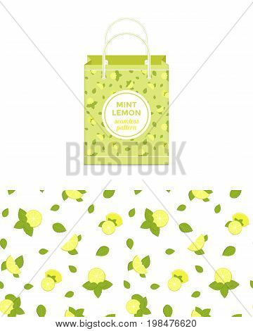 Lemon and mint vector colorful seamless pattern for design of holiday decoration, greeting card, gift wrapping paper, shopping bag. Vector cheerful endless backgroundwith lemon slices and mint leaves