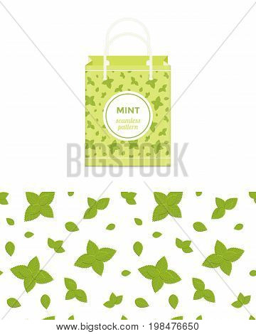 Mint vector colorful seamless pattern for design of holiday decoration, greeting card, gift wrapping paper, shopping bag. Vector cheerful endless backgroundwith mint leaves.