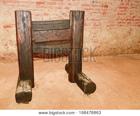 Medieval wooden guillotine. Medieval instrument of torture