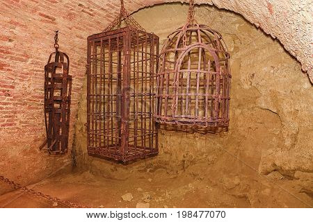 Iron hanging medieval torture cages. Medieval torture.