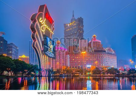 Macao Cityscape At Night With Landmark Buildings