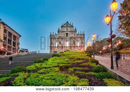 The Ruin Of The Church Facade At Night In Macao, China