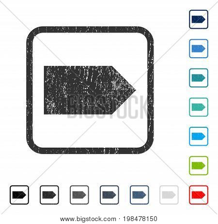 Direction Right rubber watermark in some color versions.. Vector icon symbol inside rounded rectangular frame with grunge design and unclean texture. Stamp seal illustration, unclean emblem.