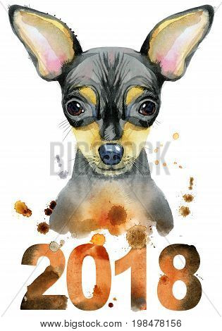 Cute Dog. Dog T-shirt graphics. watercolor toy terrier illustration. Symbol of the year 2018
