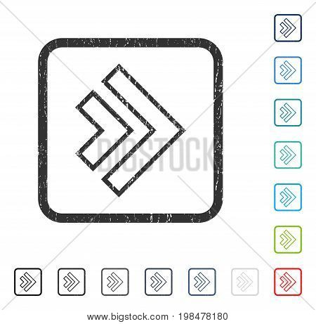 Direction Right rubber watermark in some color versions.. Vector icon symbol inside rounded rectangular frame with grunge design and unclean texture. Stamp seal illustration, unclean sign.
