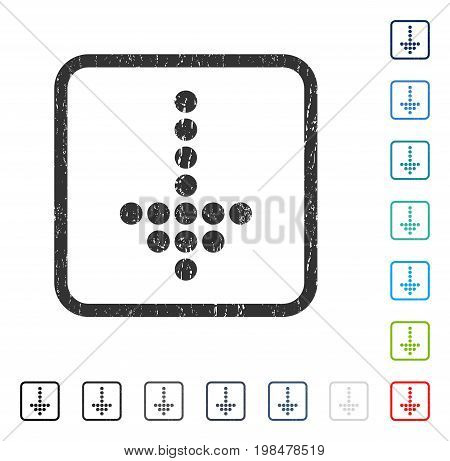 Dotted Arrow Down rubber watermark in some color versions.. Vector pictogram symbol inside rounded rectangular frame with grunge design and dirty texture. Stamp seal illustration, unclean emblem.