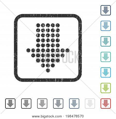 Dotted Arrow Down rubber watermark in some color versions.. Vector icon symbol inside rounded rectangle with grunge design and dust texture. Stamp seal illustration, unclean emblem.