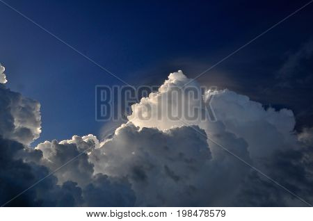 Clouds Up In The Sky, Color Image, Selective Focus, Horizontal Image