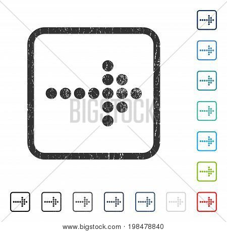 Dotted Arrow Right rubber watermark in some color versions.. Vector icon symbol inside rounded rectangular frame with grunge design and unclean texture. Stamp seal illustration, unclean sign.