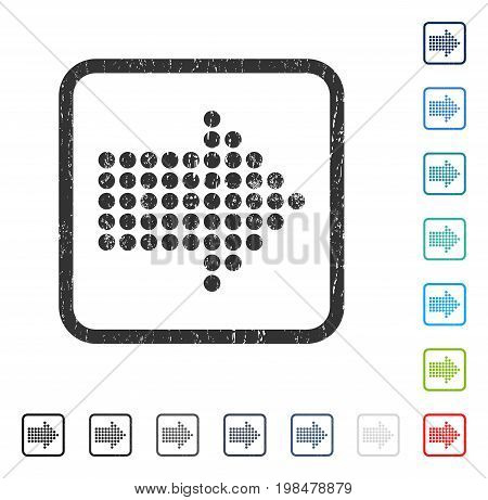 Dotted Arrow Right rubber watermark in some color versions.. Vector pictogram symbol inside rounded rectangle with grunge design and unclean texture. Stamp seal illustration, unclean sticker.