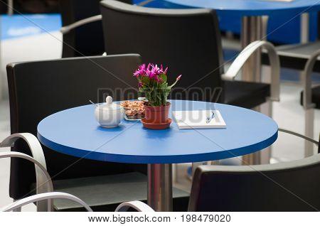 Coffee Break Tables, Color Image, Selective Focus, Horizontal Image