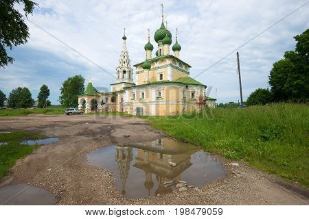 UGLICH, RUSSIA - JULY 16, 2017: Church of the Nativity of John the Baptist, cloudy July day